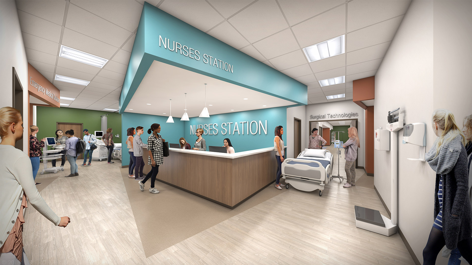 Rendering of a interior nurses station